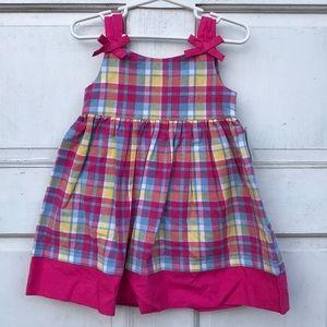 NWT J Khaki Pink Plaid 2pc Sleeveless Dress 18M